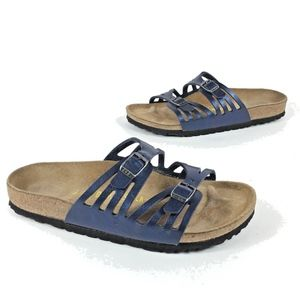 Birkenstock Moorea Blue Metalllic Slip On Sandals